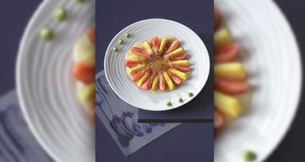 Gratin de mangue et fraises au wasabi, Guy MARTIN