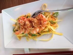 Salade de mangue vertes aux crevettes